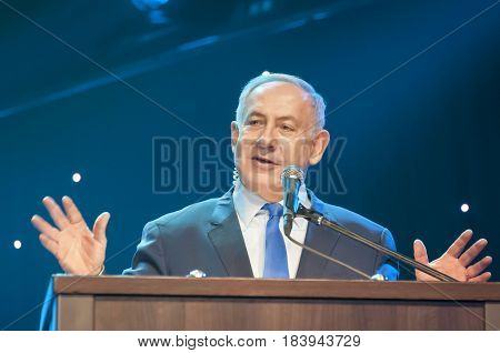 Benjamin Netanyahu, prime minister of Israel, giving an address at the Channel 9 TV ceremony