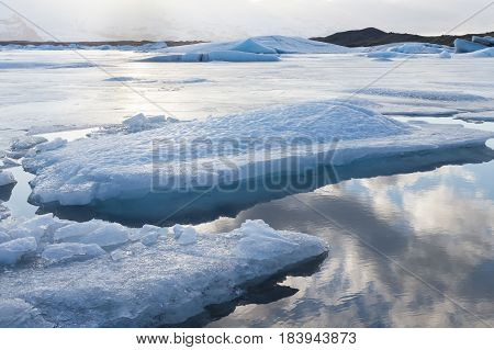 Winter lagoon Jakulsalon Iceland natural winter landscape background