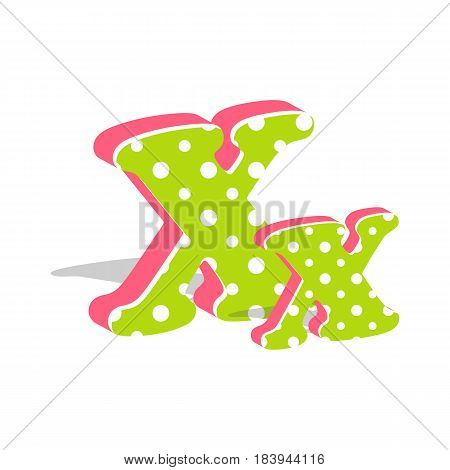 Capital and numeric cute dotted 3d letter X isolated on white background. Vector illustration. Element for design. Kids alphabet.