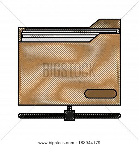 color blurred stripe office folder with documents inside and base vector illustration