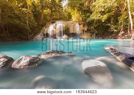 Natural deep forest tropical waterfall natural landscape background
