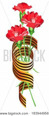 Red carnations intertwined with St. George ribbon on a transparent background. Vector isolated object.