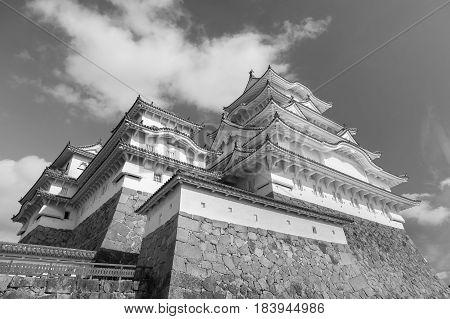 Himeji castle Kansai Japan historic landmark background Black and White tone