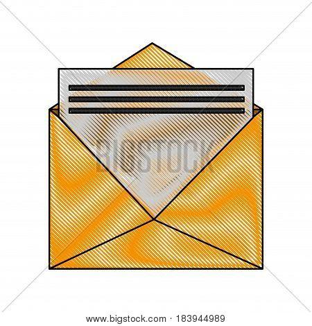color blurred stripe envelopes opened with sheet vector illustration