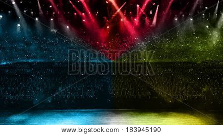 Concert Spotlight Color Red Yellow And Blue
