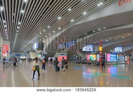 GUANGZHOU CHINA - NOVEMBER 13, 2016: Unidentified people travel at Guangzhou South train station.