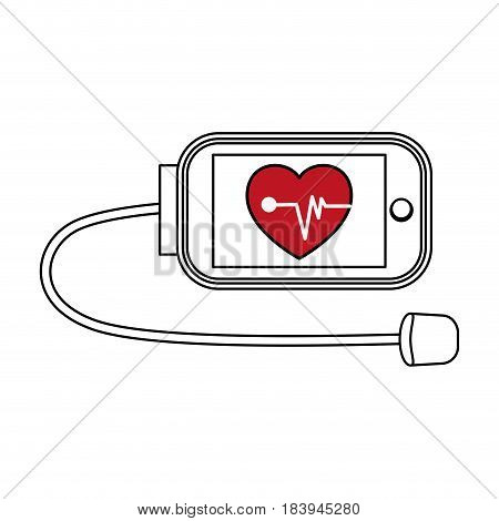sketch color silhouette of tech device for vital signs vector illustration