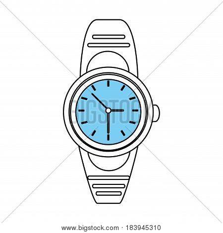 sketch color silhouette of analog male wristwatch vector illustration