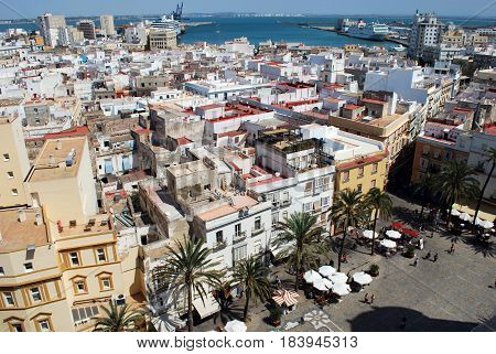 CADIZ, SPAIN - SEPTMEBER 8, 2008 - Elevated view of Cathedral square and city rooftops seen from the Cathedral Bell tower Cadiz Cadiz Province Andalusia Spain Western Europe, September 8, 2008.