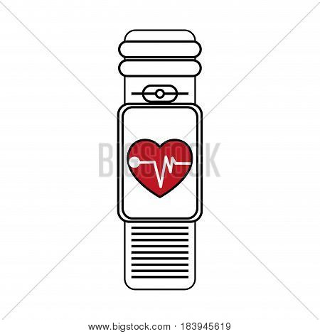 sketch color silhouette smartwatch with electronic screen and heart monitoring vector illustration
