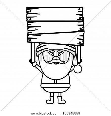monochrome contour of santa claus with wooden banner vector illustration