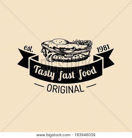 Vector vintage fast food logo. Hipster natural sandwich label, sign. Bistro icon. Street eatery emblem