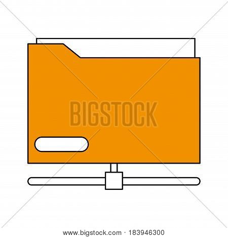 sketch color silhouette office folder with documents inside and base vector illustration
