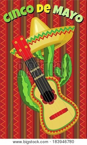 Vector greeting card for the holiday of Cinco de Mayo.Sombrero on the cactus and guitar on the background of the national ornament.