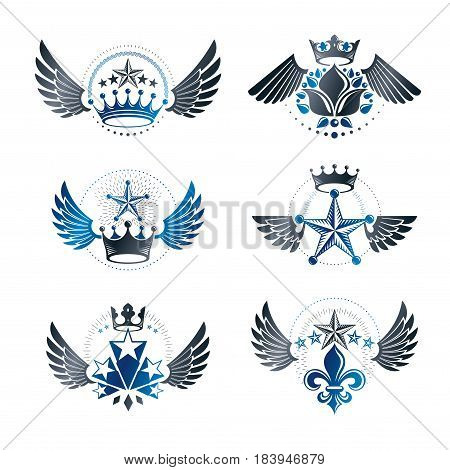 Royal Crowns and Ancient Stars emblems set. Heraldic Coat of Arms decorative logo isolated vector illustrations collection.