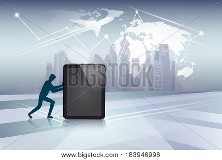 Silhouette Business Man Pushing Tablet Computer Electronic Gadget Network Communication Flat Vector Illustration