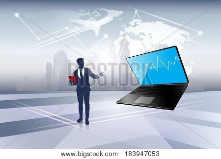 Silhouette Business Man Point On Laptop Computer Social Network Communication Flat Vector Illustration
