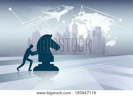 Silhouette Business Man Pushing Cess Figure New Idea Strategy Concept Over World Map Background Vector Illustration