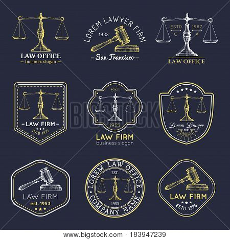 Law office logotypes set with scales of justice, gavel illustrations. Vector vintage attorney, advocate labels, juridical firm badges collection. Act, principle, legal icons design.