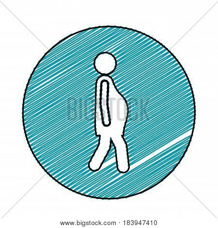 color pencil drawing circular frame with pictogram woman pregnant walking vector illustration
