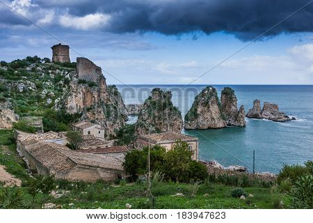 Faraglioni And Beautiful Sea At Scopello, Sicily, Italy