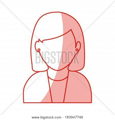 red silhouette shading faceless half body woman with short straight hair vector illustration