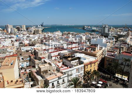CADIZ, SPAIN - SPETMEBER 8, 2008 - Elevated view of Cathedral square and city rooftops seen from the Cathedral Bell tower Cadiz Cadiz Province Andalusia Spain Western Europe, September 8, 2008.