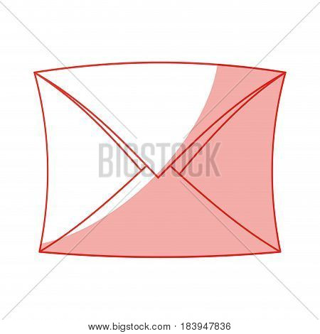 red silhouette shading envelope mail closed vector illustration