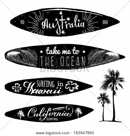 Vector set of vintage surfing logotypes and t-shirts prints. Take me to the ocean, Australia, California, Hawaii typographic posters collection with hand drawn boards illustrations.