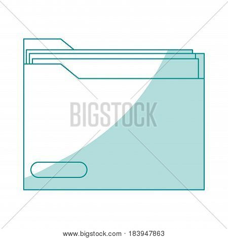 blue silhouette shading folder with documents inside vector illustration