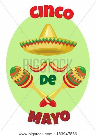Vector image for a holiday of Cinco de Mayo. Sombrero and maracas for a pastel green oval.