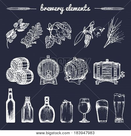 Vector set of vintage brewery hand sketched elements, barrel, bottle, glass, mug, herbs and plants. Retro beer icons collection. Lager, ale background.