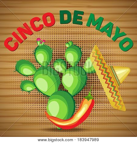 Vector square card for the holiday of Cinco de Mayo. Sombrero and cactus with chili pepper on a wooden background.