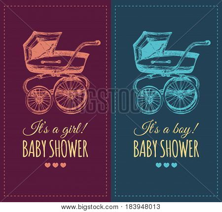 Vector baby shower invitation with pram illustration. Reveal the gender baby gifts invite concept. Typographic poster with hand sketched buggy.