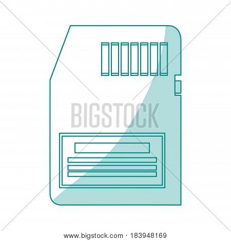 blue silhouette shading modern memory card vector illustration
