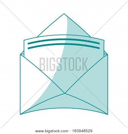 blue silhouette shading envelopes opened with sheet vector illustration