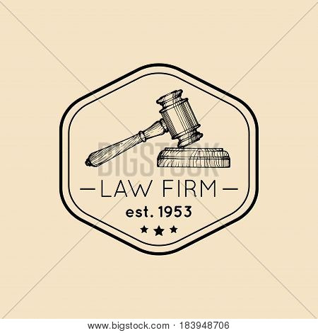 Law office logo with gavel illustration. Vector vintage attorney, advocate label, juridical firm badge. Act, principle, legal icon design.