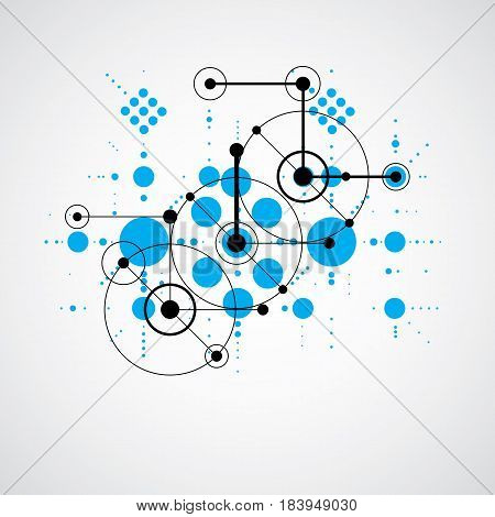Bauhaus art composition decorative modular blue vector backdrop with circles and grid. Retro style pattern graphic backdrop for use as booklet cover template.