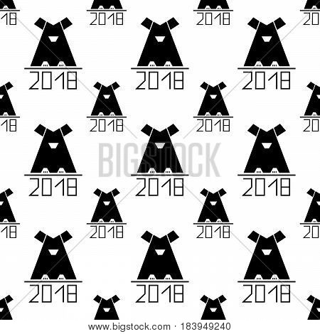 seamless pattern with black abstract dog as symbol 2018 year. vector