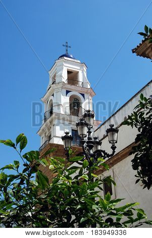 View of San Agustin church bell tower Cadiz Cadiz Province Andalusia Spain Western Europe.