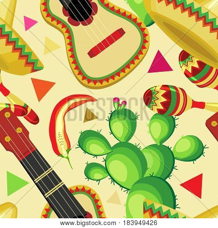 Vector seamless pattern on the holiday of Cinco de Mayo. Sombrero guitar cactus and maracas with vegetables on a pastel beige background.