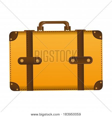 realistic silhouette of leather suitcase vector illustration