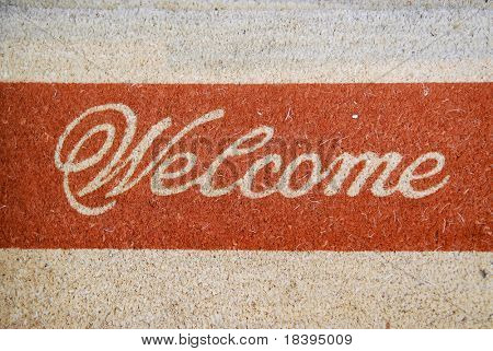 Doormat with welcome sign