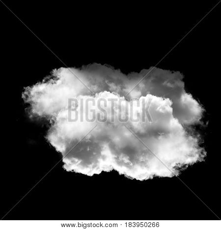 Soft white cloud shape isolated over black background 3D realistic illustration single cloud 3D rendering