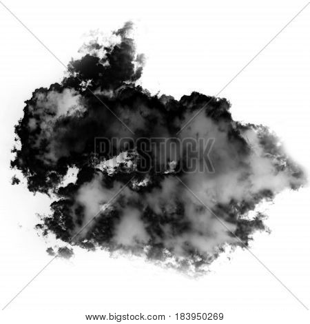 Smoke cloud shape isolated over white background 3D realistic illustration single cloud 3D rendering. Inkblot dirty spot