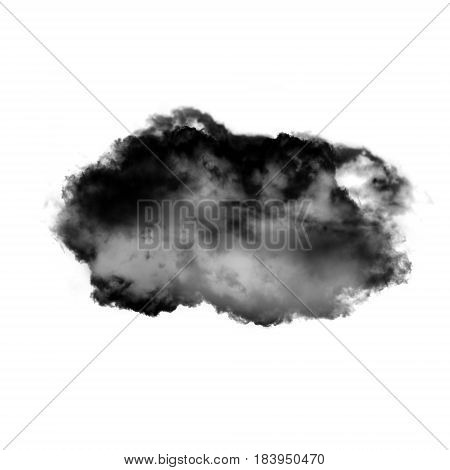 Cloud shape isolated over white background 3D realistic illustration single cloud 3D rendering