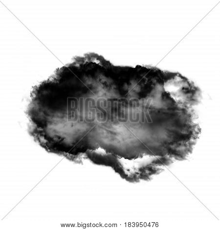 Complex cloud shape isolated over white background 3D rendering illustration realistic smoke or cloud shape
