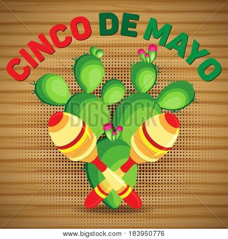 Vector square card for the holiday of Cinco de Mayo. Maracas and cactus on a wooden background.
