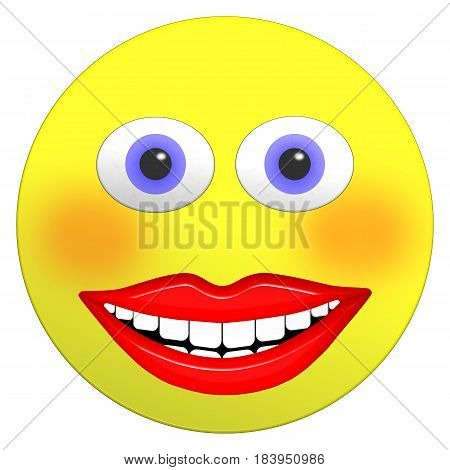 Smiley female emoji 3D illustration with big bright smile rosy cheeks and big blue eyes