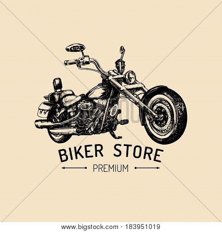 Biker store advertising poster. Vector hand drawn chopper for MC sign, label. Vintage detailed motorcycle illustration for custom bikes company, garage logo, t-shirt print etc.